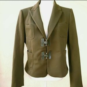 Zara Basic olive blazer jacket L knit 2 buckle